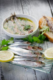 Fresh sardines with lemon Stock Photo