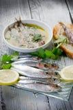 Fresh sardines with lemon Stock Photo