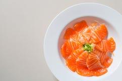 Fresh sashimi saimon on white dish background Stock Photography
