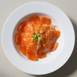 Fresh sashimi saimon on white dish background Royalty Free Stock Photo