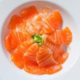 Fresh sashimi saimon on white dish background Stock Images