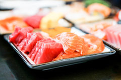 Fresh sashimi set with the selective focus. Close up fresh sashimi set with the selective focus Royalty Free Stock Images