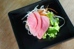 Fresh sashimi on wood background Stock Photography