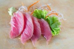 Fresh sashimi on wood background Stock Photos