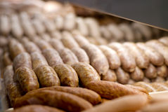 Fresh Sausage. Links at the butcher Stock Photo