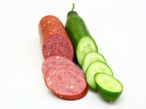 Fresh sausage and cucumber Stock Image