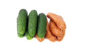 Fresh sausage and cucumber Royalty Free Stock Image