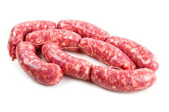 Fresh sausage isolated on white background Royalty Free Stock Photography