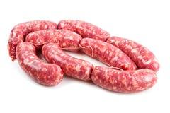 fresh sausage isolated on white background Royalty Free Stock Photography