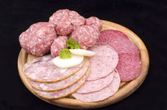 Fresh sausage sliced Royalty Free Stock Photos