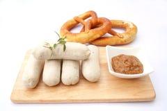 Fresh sausage. Some fresh white sausage with mustard Royalty Free Stock Image