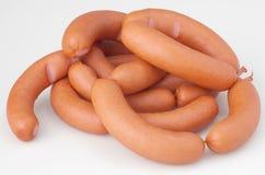 Fresh sausages. On white bacground royalty free stock image