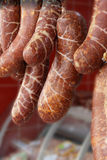 Fresh sausages in a butcher's shop Royalty Free Stock Photos