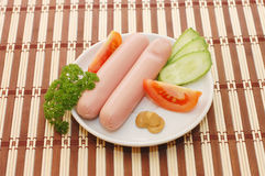 Fresh sausages on a plate Stock Photography