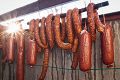 Fresh sausages and salamis Royalty Free Stock Image