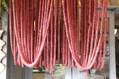Fresh sausages. Some fresh sausages in a butchery of nemi in italy Royalty Free Stock Photography