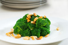 Fresh sauteed broccoli and almonds Stock Images