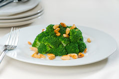 Fresh sauteed broccoli and almonds Stock Image
