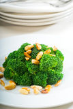 Fresh sauteed broccoli and almonds Royalty Free Stock Images