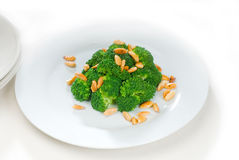 Fresh sauteed broccoli and almonds Royalty Free Stock Image