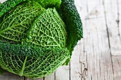 Fresh savoy cabbage closeup Stock Photography