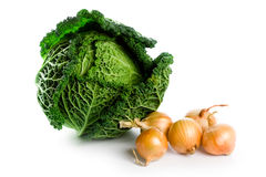 Fresh savoy cabbage an isd five onions Royalty Free Stock Image