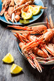 Fresh scampi served with lemon stock image