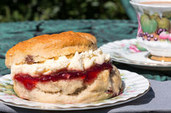 Fresh scone cream tea Stock Photo