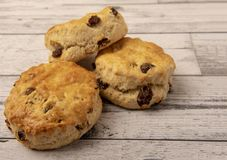 Fresh scones with copy space. On white wooden background royalty free stock image