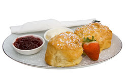 Fresh Scones, Jam and Cream Stock Images