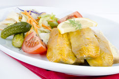 Fresh Scottish kipper. With organic salad on a plate Royalty Free Stock Photography