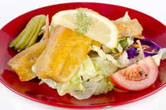 Fresh Scottish kipper with organic salad Stock Images