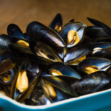 Fresh Scottish Mussels. Close-up of Fresh Cooked Scottish Mussels In White Wine and Cream Royalty Free Stock Photos