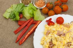 Fresh scrambled eggs with bacon and vegetables. Domestic eggs for breakfast. Breakfast athletes. Preparing eggs. Protein diet. Royalty Free Stock Image