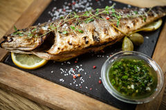 Fresh sea bass. Mediterranean fish, baked entirely in a coal stove with herbs and lemon Royalty Free Stock Photos