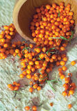 Fresh sea buckthorn on linen fabric Royalty Free Stock Images