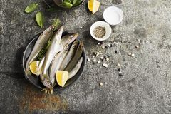 Fresh sea cold-water small fish such as smelt, sardine, anchovies on a simple background with fresh spinach, lemon. Slices, legumes for the concept of correct stock images