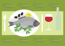 Fresh sea fish with lemon and olives royalty free illustration