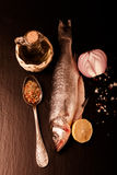Fresh sea fish lying on dark background with spices. Vertical Stock Photos
