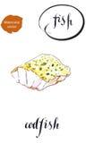 Fresh sea fish: a piece of roasted codfish Stock Photography