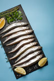 Fresh sea fish smelt or sardines ready for cooking with lemon, thyme, and coarse sea salt on a blue background. The concept of fre Stock Photography