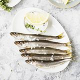 Fresh sea fish smelt or sardines ready for cooking with lemon, thyme, rosemary and coarse sea salt. The concept of fresh. Healthy seafood. Top view Royalty Free Stock Photo