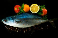 Fresh sea fish tuna in with vegetables and spices on a black background. stock images