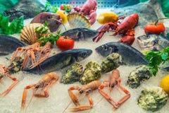 Fresh sea food on the market Royalty Free Stock Photos