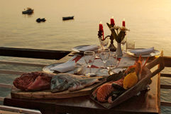 Fresh sea food on table Stock Images