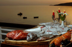Fresh sea food on table Royalty Free Stock Photo