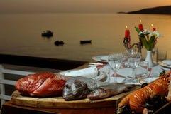 Fresh sea food on table Royalty Free Stock Photo