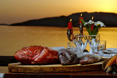 Fresh sea food on table Royalty Free Stock Images