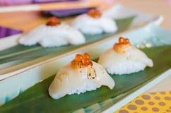 Fresh sea scallops sushi. With salmon roe Stock Photography