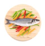 Fresh seabass fish on colorful pepper. Stock Image